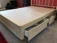 King size divan with 4 drawers in faux suede champagne/cream colour
