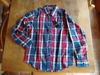 Men's check shirt, button down collar, red/blue/white, Large