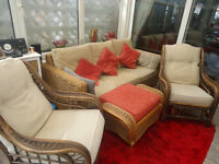 2 Wicker chairs, wicker furniture and wicker foot stool