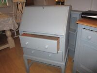 beautiful vintage grey painted solid oak bureau desk, local delivery available