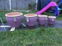 Set of 4 terracotta garden plant pots
