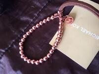Michael kors rose gold beads and leather bracelet