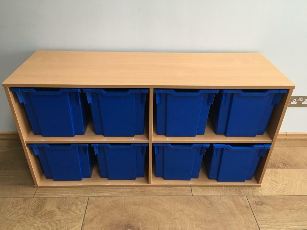 Children's playroom or bedroom storage unit with 8 boxes ...