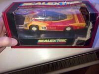 Porsche Le Mans Racer Scalextric Slot Car Car 18 Dunlop Shell box is very battered