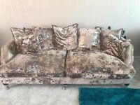 Crushed velvet 3 seater and 2 seater side in champagne