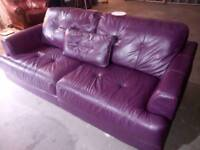 Ex display dfs purple leather 3 seater sofa with matching cushion