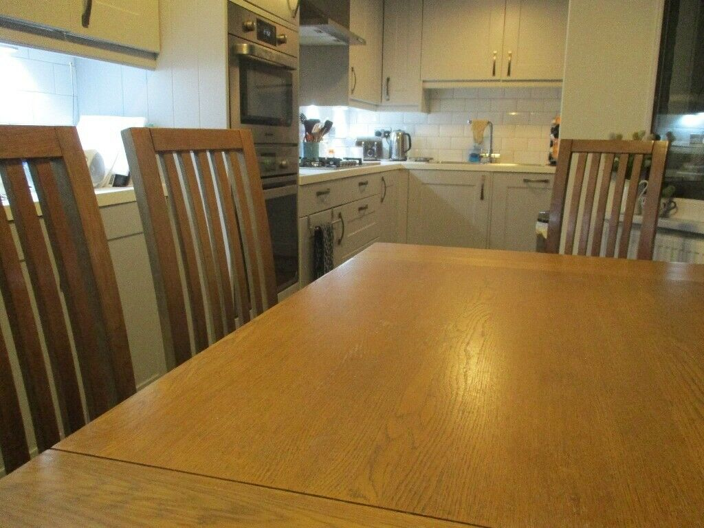Solid Dorset Oak Dining Room Table And Six High Backed Chairs Now Reduced Further