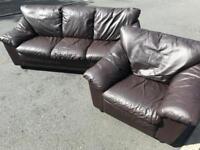Dark brown full leather ~ 3 & 1 ~ sofas suite