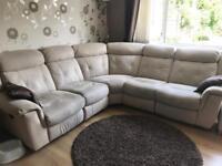 Cream Recliner Corner Sofa