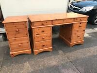 Lovely pine office Desk with filling cabinet