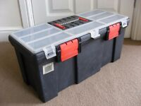 Sturdy Hand Tool Box Organiser Top 56cm 22 inch Storage Carry Case Tote Tray Chest