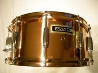 """Cannon Copper snare drum 14 x 6 1/2"""" - NOS - High end model - '90s"""