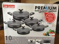 TRI-STAR 10 PCS COOKWARE CASSEROLE SET (BRAND NEW BOXED)