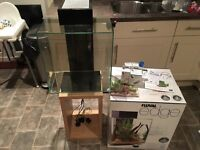 Fluval edge 46l fish tank and wooden stand