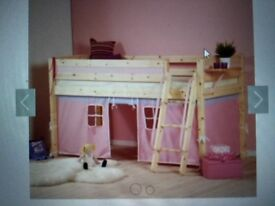 Thuka Trendy 16 Mid Sleeper, clear lacquer finish, pink/purple inserts for den making under the bed