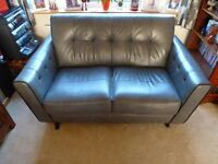 2/3 seater grey leather sofa, 9 months old