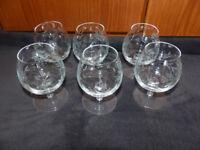 Set of six crystal brandy glasses