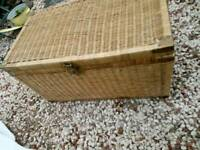 Large Wicker Basket with Brass Handles