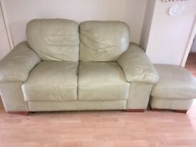 3 piece cream leather suite for sale 2 small sofas and pouffe