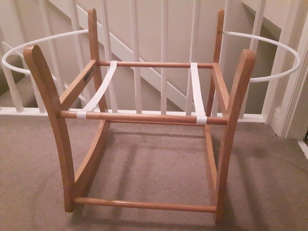 Rocking wooden mothercare moses basket stand