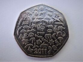 FOURTH IN THE RAREST 50P COIN - 2011 - CELEBRATING 50 YEARS OF THE WORK OF WILD LIFE FUND