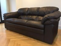 Real Leather Brown 3 Piece Suite: 3 Seater Sofa & Two 2 Seater Sofa, Excellent Condition