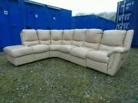 Mocha Soft Leather Corner Sofa *Delivery Available*