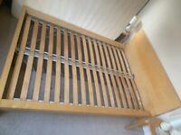 IKEA oak veneer double bed frame