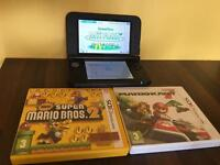 NINTENDO 3DS XL RED WITH MARIOKART AND SUPER MARIO BROS 2