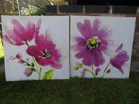 2 canvas flower prints
