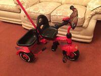 Disney Cars, Lightning McQueen Trike with parent handle PLUS Helmet