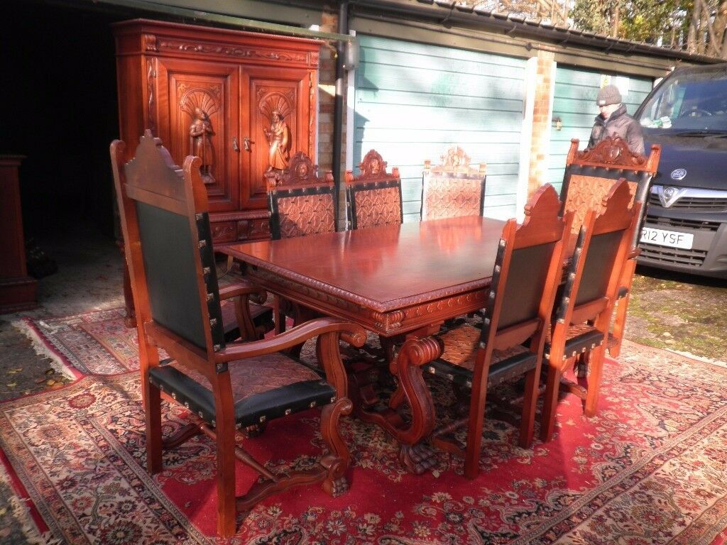 Spectacular Gothic Jacobean Hand Carved Dining Room Suite 8 Chairs
