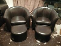 two kids leather chairs and foot stools