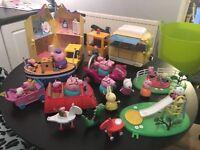 Large bundle of peppa pig toys, including figures. Camper van, house, cars, playground etc..