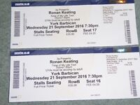 Ronan Keating tickets, York Barbican, York Row B Front Stalls Wednesday 21st September