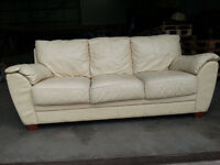 3 Seater White/Cream Leather Couch Sofa - DELIVERY AVAILABLE