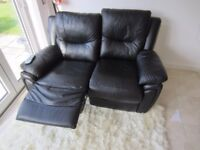 SCS Black Leather double manual recliner excellent condition