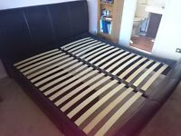 Super King Size Sleigh Style Bed Leather With Drawers Almost New Condition! Mattress Excluded!