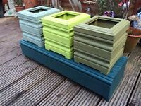 Colorful Rustic Wooden Garden Display Stand/Bench & Planter Pots Set
