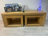 Solid oak coffee table and 2 Nest tables