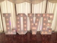 Giant Light up LOVE letters 4ft Hire for Weddings only £149 delivered Beds, Herts, Bucks & Cambs