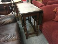 LOVELY BARLEY TWIST DROP LEAF TABLE (DELIVERY AVAILABLE)