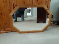 Large pine framed wall mirror