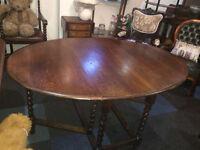 Charming Vintage Solid Oak Barley Twist Oval Gate-leg Drop Leaf Dining Table