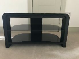 Black Glass and Metal TV Stand For Sale