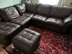 DFS Brown Leather corner sofa with footstool