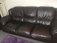 3 seater and 2 seater brown leather sofas