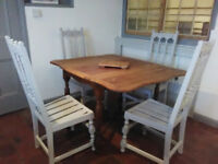 Refurbished oak extending table and 4 Ercol chairs