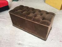Brown velour ottoman bench chest