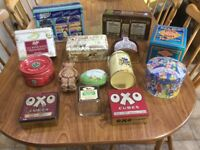 A collection of vintage decorative tins